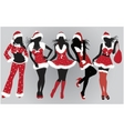 set of beautiful Christmas girls vector image
