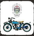 skull rider and old bike color logo vector image