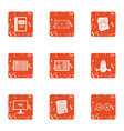 start up contract icons set grunge style vector image vector image