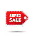 super sale hang tag label on white background vector image