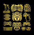 tribal face drawings set golden symbols vector image vector image