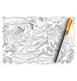 underwater world animals doodle set vector image