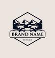 van camping stamp logo vector image vector image