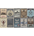 vintage colored motorcycle posters set vector image