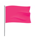 Waving pink flag template vector image vector image