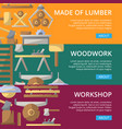 workshop lumber posters in flat style vector image vector image