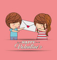 happy valentines lovely couple holding envelope vector image