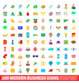 100 modern business icons set cartoon style vector image vector image