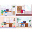 a set empty office workplace interior design vector image vector image