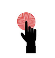 black hand with index finger touching red target vector image