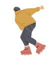 boy ride on roller skates young man riding vector image vector image