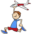boy with toy plane cartoon vector image vector image