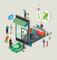 business isometric for online shop vector image