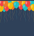 celebration flying balloons background vector image vector image