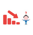 confused businessman character with sales bar vector image
