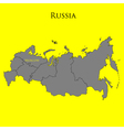 Contour map of Russia on a yellow vector image