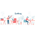 coworking space with busy people walking vector image