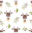 cute deer seamless pattern vector image
