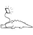 device crocodile cartoon line drawing vector image vector image
