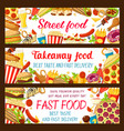 fast food restaurant and street cafe banner design vector image vector image