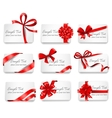 Festive cards with red gift ribbons vector image vector image