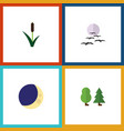flat icon bio set of gull cattail half moon and vector image vector image