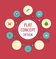 Flat icons tree emperor sky and other vector image