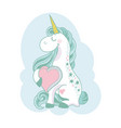 funny and hapy colored cartoon style unicorn with vector image vector image
