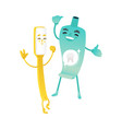funny toothbrush and toothpaste tube characters vector image