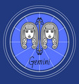 gemini zodiac sign twins horoscope astrology vector image vector image