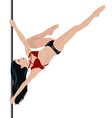Girl is doing element in pole dance vector image vector image