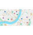 gps point map navigation signs on city scheme vector image