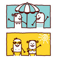 hand drawn cartoon characters - summer couple vector image vector image