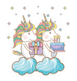happy birthday unicorn cartoons vector image