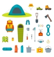Hiking equipment and gear icon collection vector image vector image