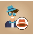 hipster character bow tie hat vector image vector image