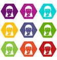 indian woman icon set color hexahedron vector image