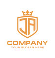 initial ja luxury logo design vector image vector image