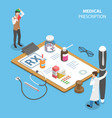 isometric flat concept prescription form vector image vector image