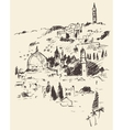 Jerusalem City View Israel Vintage Engraved vector image vector image