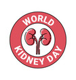kidney day in mbe style vector image vector image