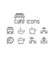 line cafe icons set on white background vector image vector image