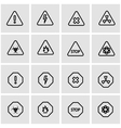 line danger icon set vector image vector image