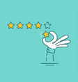 man hand giving five star rating vector image