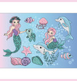 mermaids sea travel clipart color vector image