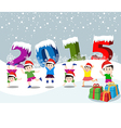 Merry christmas and Happy new year 2015 with happy vector image