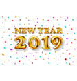 metallic gold letter balloons 2019 happy new year vector image vector image