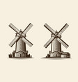 old wooden mill windmill logo or label vector image vector image