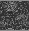 seamless italian pizza pattern on black vector image vector image