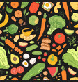 seamless pattern with dietary food wholesome vector image vector image